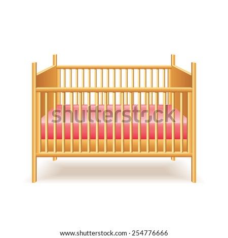 Baby bed isolated on white photo-realistic vector illustration - stock vector