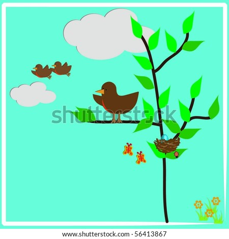 Baby Birds Leaving The Nest With Mother Bird Watching - stock vector