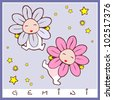 baby birth greeting card with star sign gemini. rasterized version also available in portfolio - stock photo