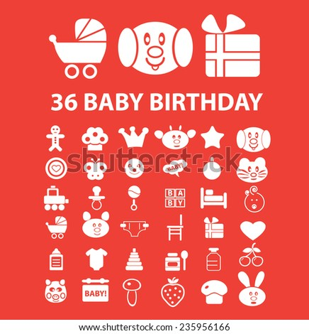 baby birthday icons, signs set, vector