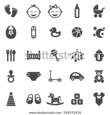 Baby black icons set.Vector - stock vector
