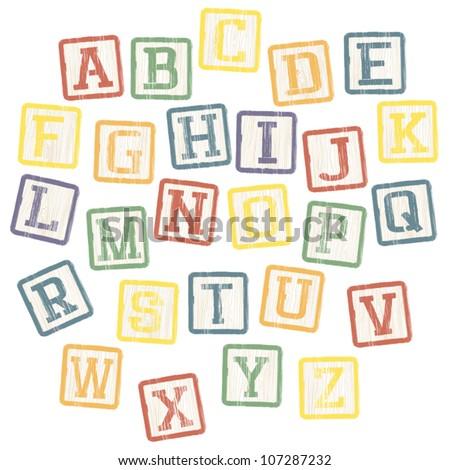 Baby blocks alphabet collection. Vector, EPS8 - stock vector