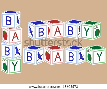Baby blocks in primary colors. - stock vector