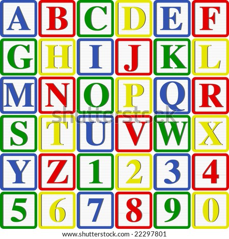 Baby Blocks Letters and Numbers: Vector Illustration with easy to change colors and letters - stock vector