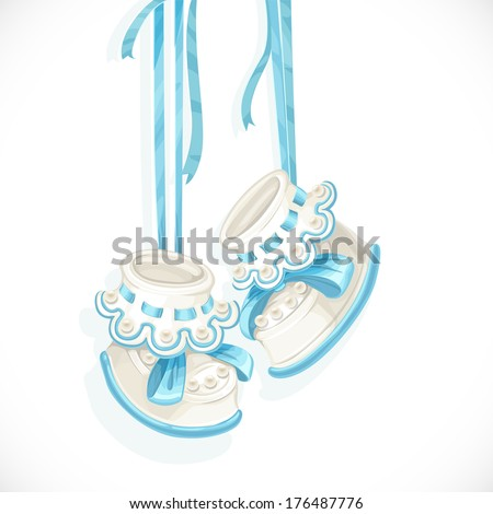 Baby blue booties isolated on a white background - stock vector