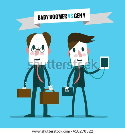 baby boomers  VS generation y. Business human resource. flat character design. vector illustration - stock vector