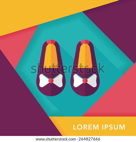 baby booties flat icon with long shadow,eps10 - stock vector