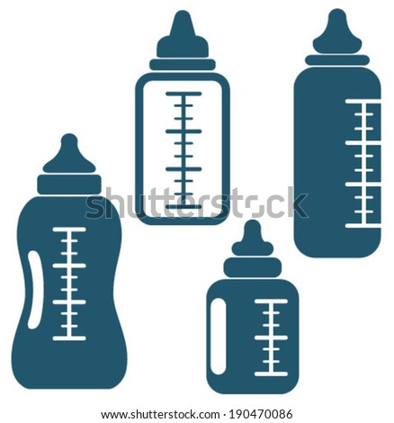 baby bottle icons - stock vector