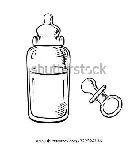 Baby bottle with milk and soft rubber pacifier sketch icons - stock vector