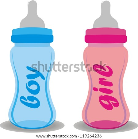 baby bottles - stock vector