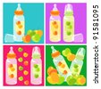 baby bottles and apple - stock vector