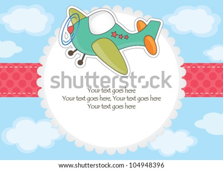 Baby boy airplane toy invitation - stock vector