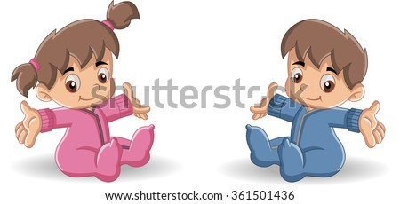 Baby boy and baby girl. Cute toddlers. - stock vector