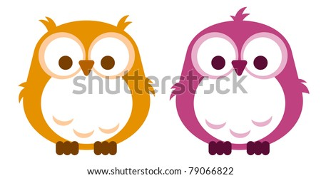 Baby boy and baby girl owl - stock vector