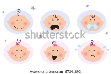 Baby boy and girl icons: facial expression. Cute babies blue and pink icons. Smiling baby, Sad baby, Baby with pacifier, Crying baby, Surprised baby. Vector Illustration. - stock vector