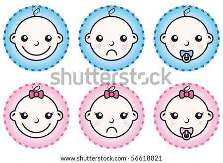 Baby boy and girl icons set isolated on white background - stock vector