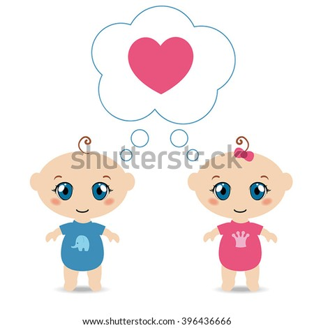 Baby boy and girl with heart. Heart in speech bubble icon. - stock vector