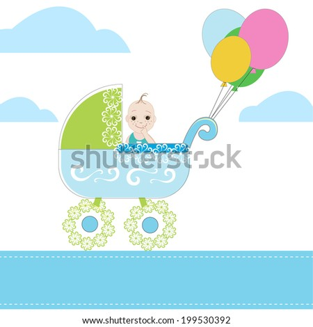 Baby Boy and pram vector with ballons