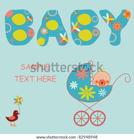 baby boy announcement card - stock vector