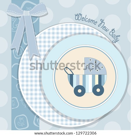 baby boy announcement card in vector format - stock vector