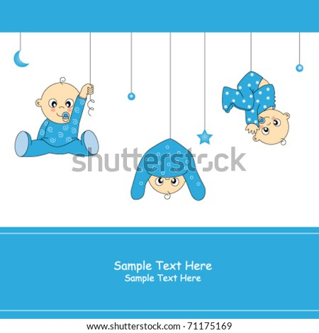 Baby boy arrival card - stock vector