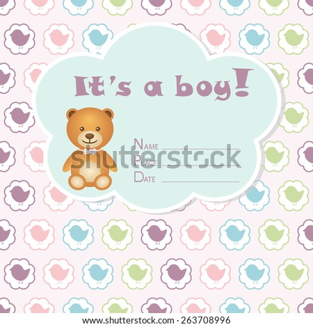 Baby boy arrival card. Baby shower card. Newborn baby card with bear and colorful birds in circles. Vector illustration. The text is drawn, the text can be removed.  - stock vector