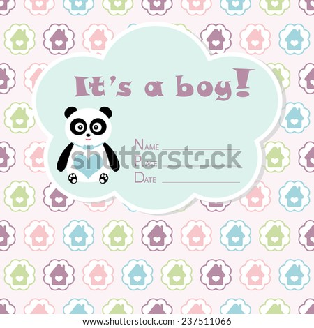 Baby boy arrival card. Baby shower card. Newborn baby card with panda and colorful houses in circles. Vector illustration. The text is drawn, the text can be removed.  - stock vector