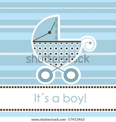 Baby boy arrival card, vector - stock vector