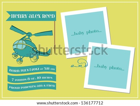Baby Boy Arrival Card with Photo Frame  - in vector - stock vector