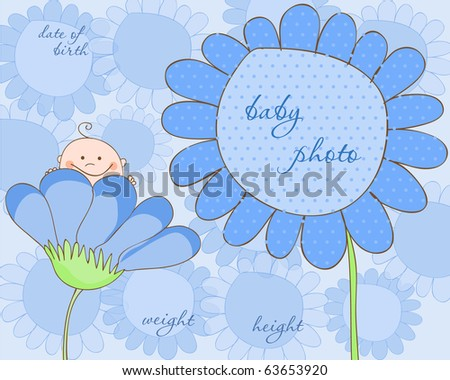 Baby Boy Arrival Frame for Photo - stock vector