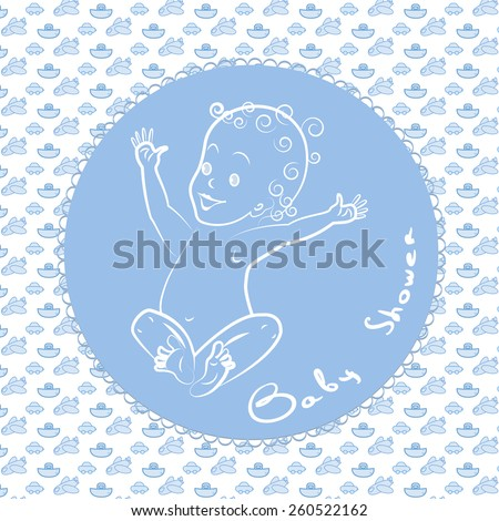 baby boy, baby shower card, blue background - stock vector