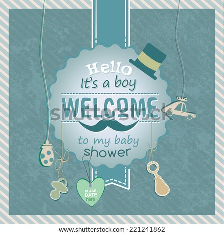 Baby boy - Baby shower invitation card template vector/illustration - stock vector