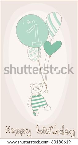 Baby Boy Birthday Invitation Card - stock vector