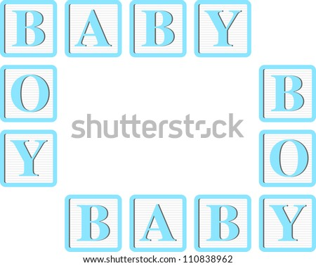 Baby Boy Blue Block letters for Invitations, Cards or Announcements