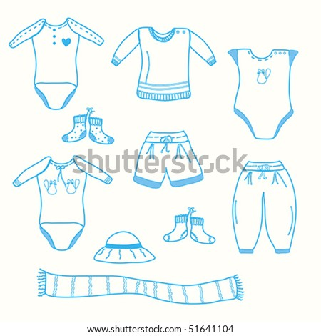 Baby boy garments collection sketch - stock vector