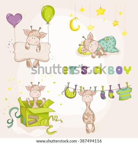 Baby Boy Giraffe Set - Baby Shower or Arrival Card - in vector - stock vector