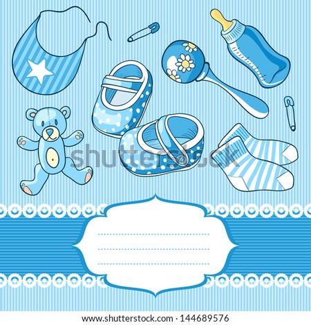 baby boy greeting card - stock vector