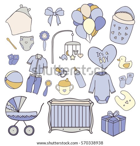 Baby Boy Hand Drawn Doodle Set Of Elements Shower And Newborn Things Vector Icons
