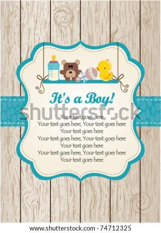 Baby boy invitation - stock vector
