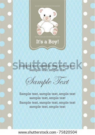 Baby Boy Invitation - stock vector