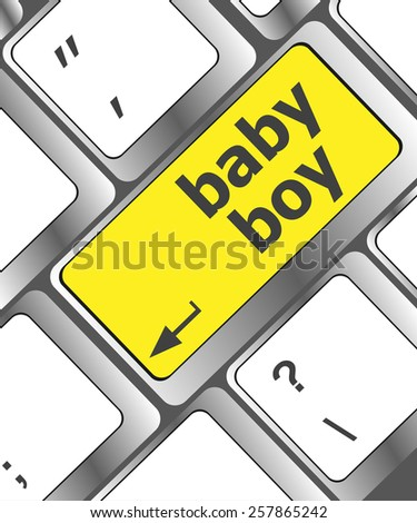 baby boy message on keyboard enter key - stock vector