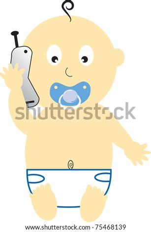 Baby Boy on Cell Phone - stock vector