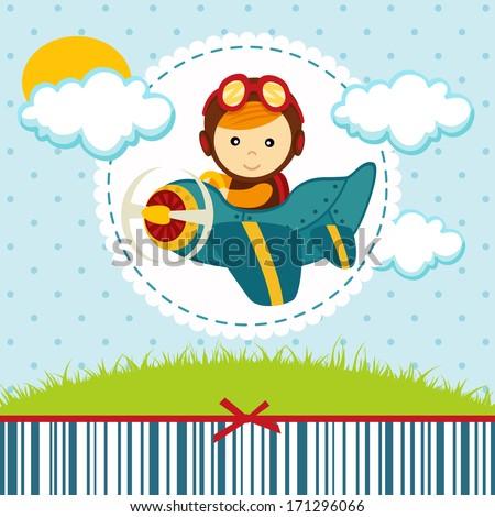 baby boy pilot - vector illustration - stock vector