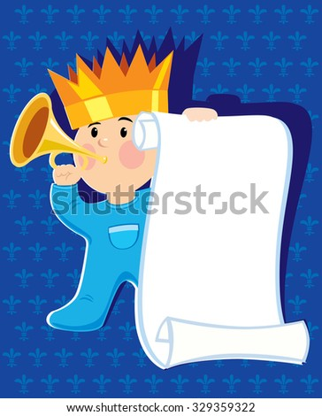 Baby boy prince greeting announcement card. Vector illustration - stock vector