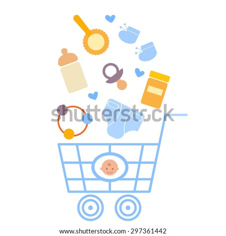 Baby boy products in the shopping cart - stock vector