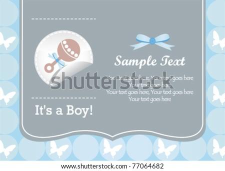 baby boy rattle card - stock vector