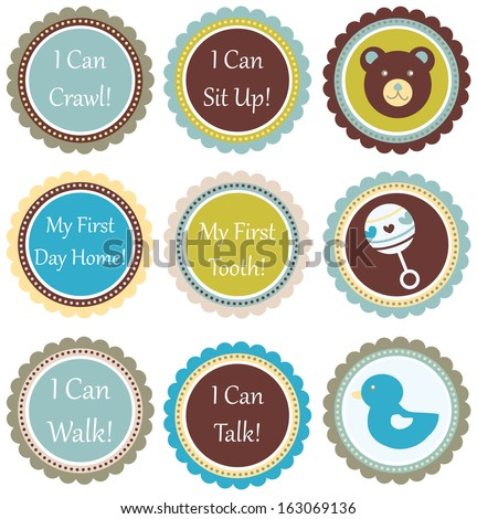 Baby Boy Scalloped Embellishment Set - stock vector