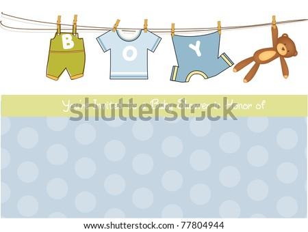 baby boy shower announcement card - stock vector