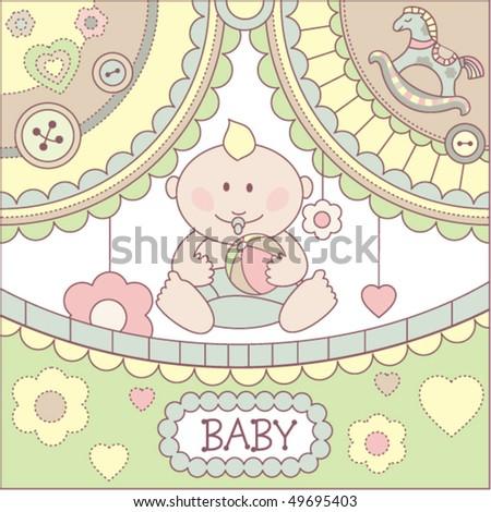 baby boy shower card - stock vector