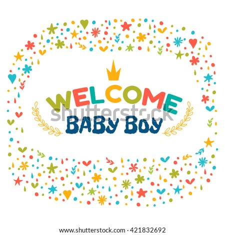 Baby boy shower card. Welcome baby boy. Baby boy arrival postcard. Baby shower greeting card. Announcement card. Vector illustration - stock vector